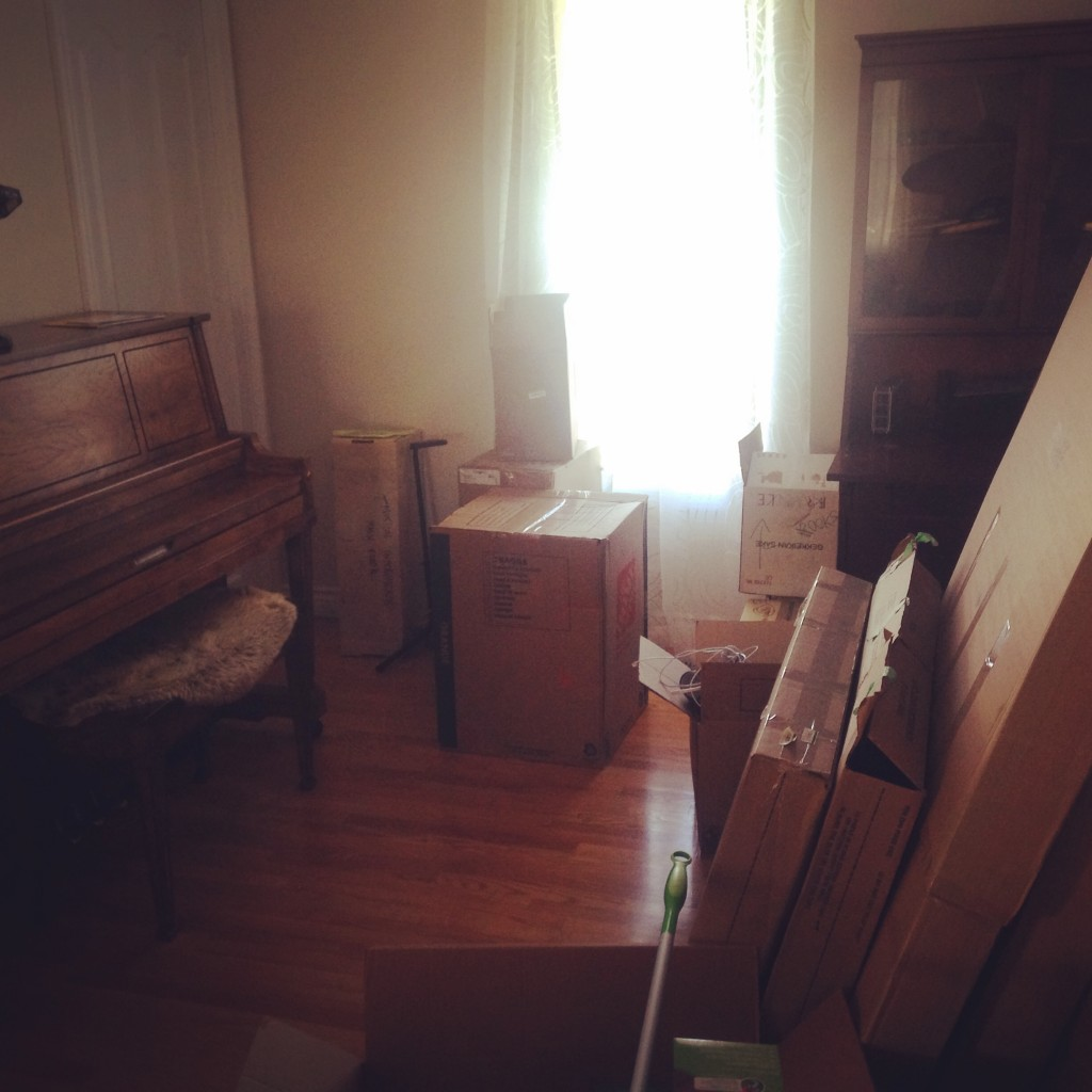 picture of Deanna's studio (full of boxes)